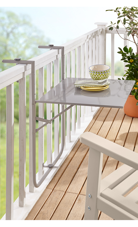 wullehus onlineshop balkontisch klappbar grau. Black Bedroom Furniture Sets. Home Design Ideas